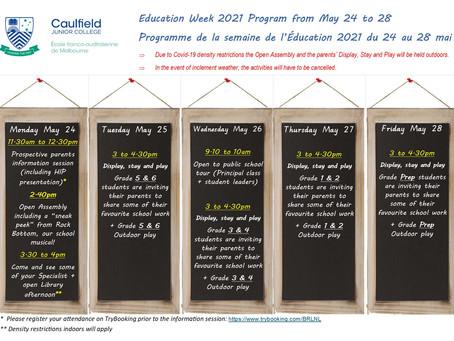 EDUCATION WEEK - UPDATED PROGRAM / SEMAINE DE L'ÉDUCATION - MISE À JOUR DU PROGRAMME
