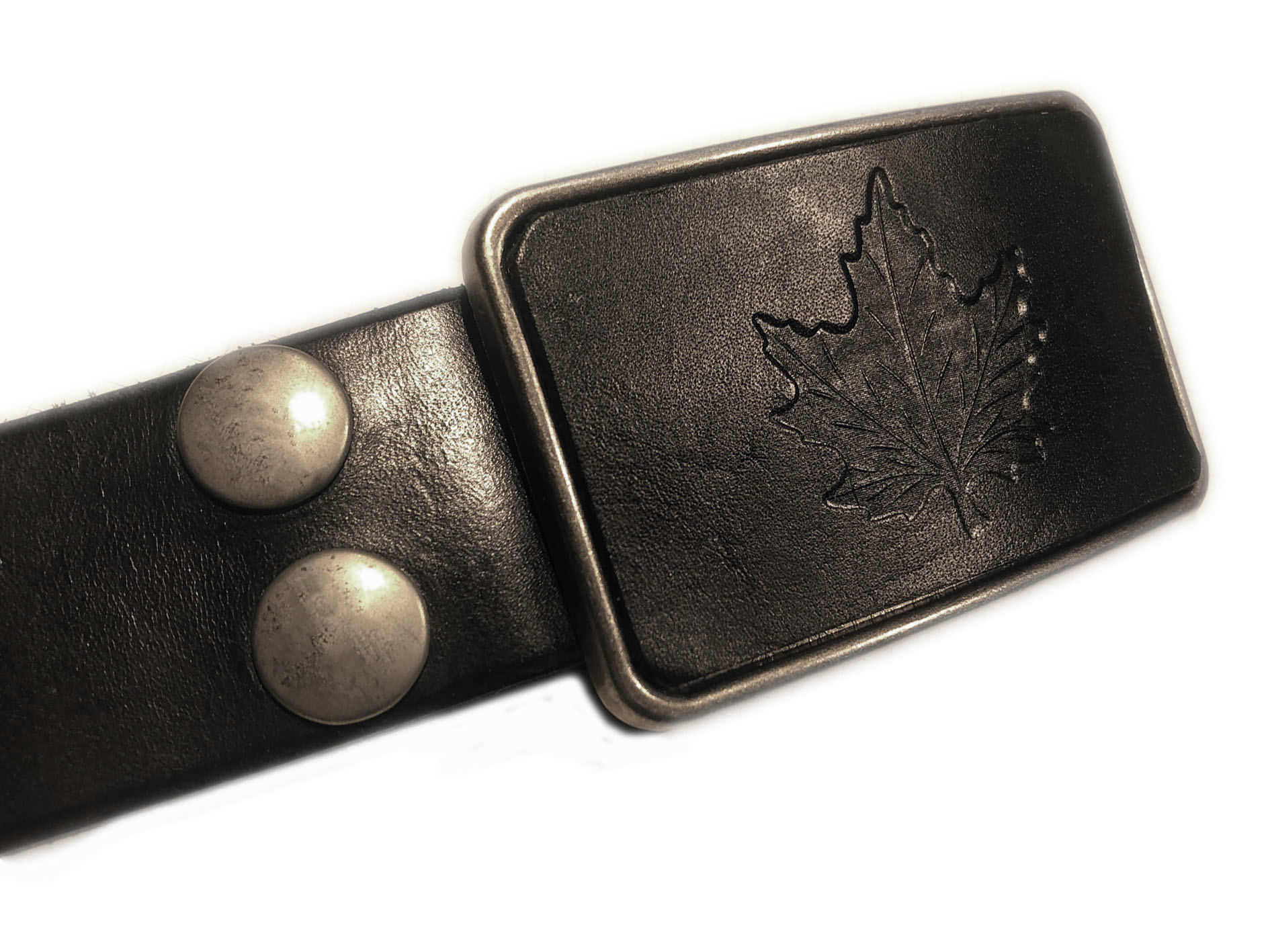 leaf buckle black belt
