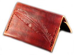 brown feather card wallet $55+gst