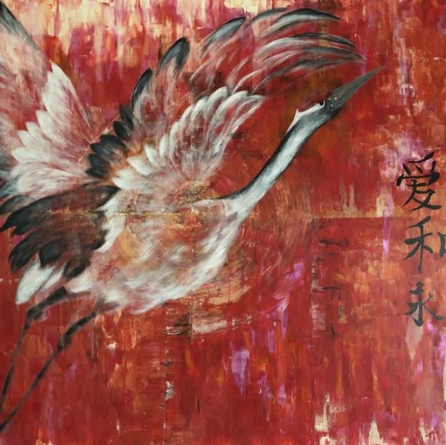 La grue blanche déploie ses ailes
