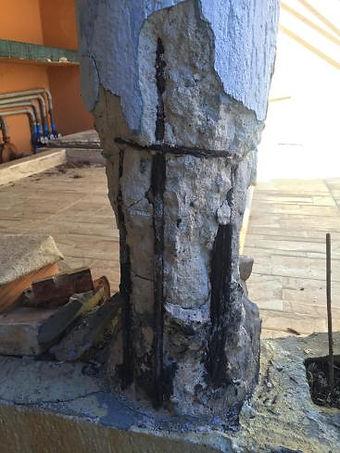 Diversos indicativos de corrosão em uma mesma estrutura.