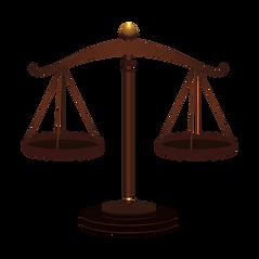Foto de uma balança que simboliza as leis. Link para a página Decretos