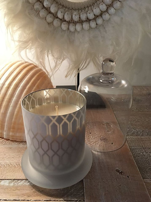 GEOMETRIC PATTERN GLASS CLOCHE SOY CANDLE