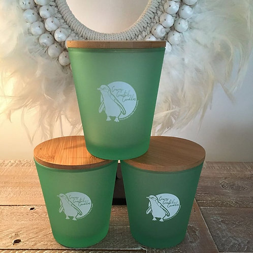 GREEN GLASS SOY CANDLES