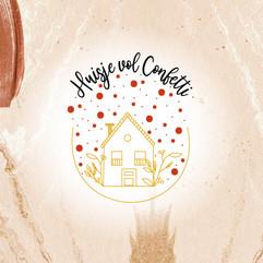 Huisje vol confetti logo design