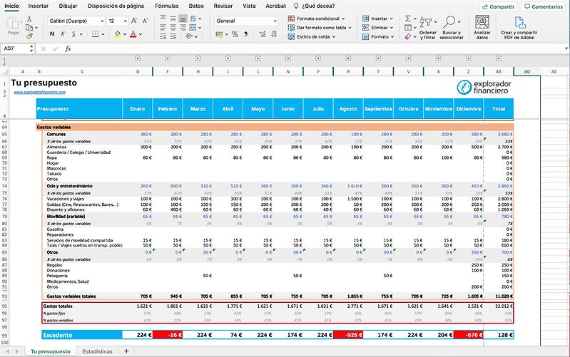 Captura de pantalla Presupuesto relleno.