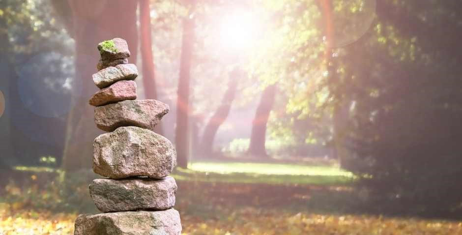 Mindfulness means balance, meditation tower