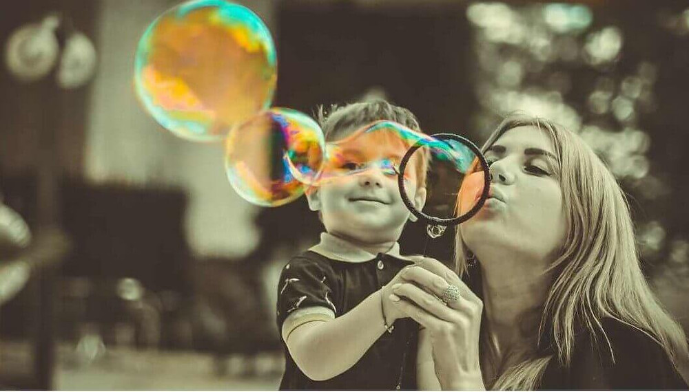 Blowing bubbles meditation with kids
