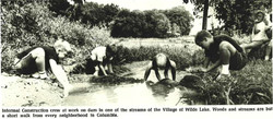 Informal construction crew at  work on dam in one of the streams of the Village of Wilde Lake - Colu