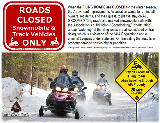 Filing Road Closure for Winter months Fe