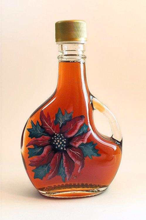 100% Pure Wisconsin Maple Syrup 12 oz Christmas Poinsettia
