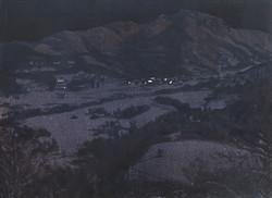 Paysage nocturne avec petites lumières