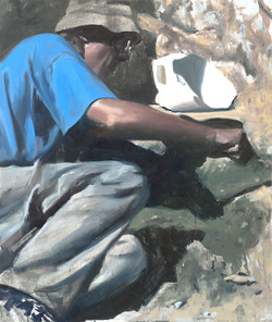 Archéologue chemise bleue