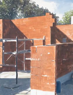 Chantier - briques - échafaudages