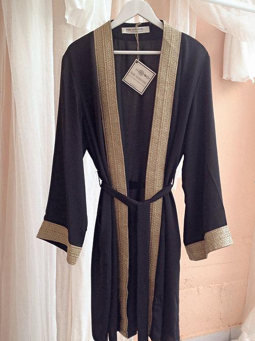 malika kimono dress, black