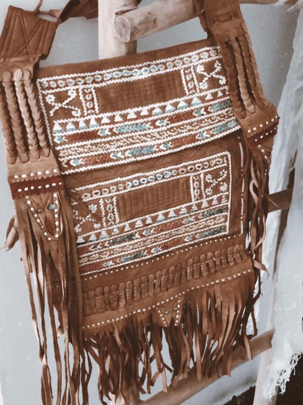 Unique vintage berber leather bag