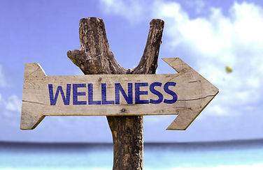 "Sign on a wooden arrow saying ""Wellness"""