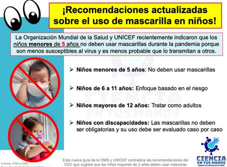 ¡Recomendaciones actualizadas sobre el uso de mascarilla en niños!