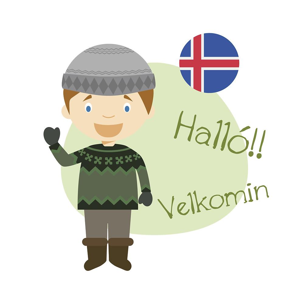 A cartoon character saying hello in Icelandic language