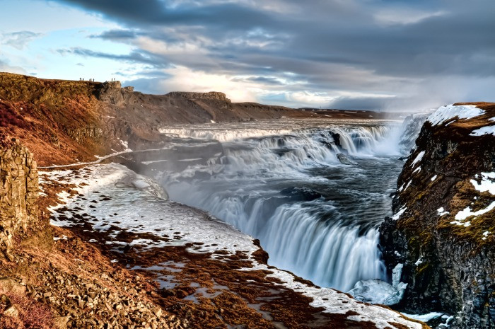 Magestic Gullfoss waterfall which is one of the three main stops on the Golden Circle route