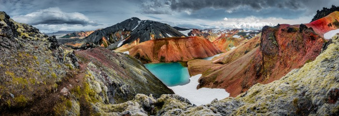Landmannalaugar landscape which is home for Blahnukur hiking trail