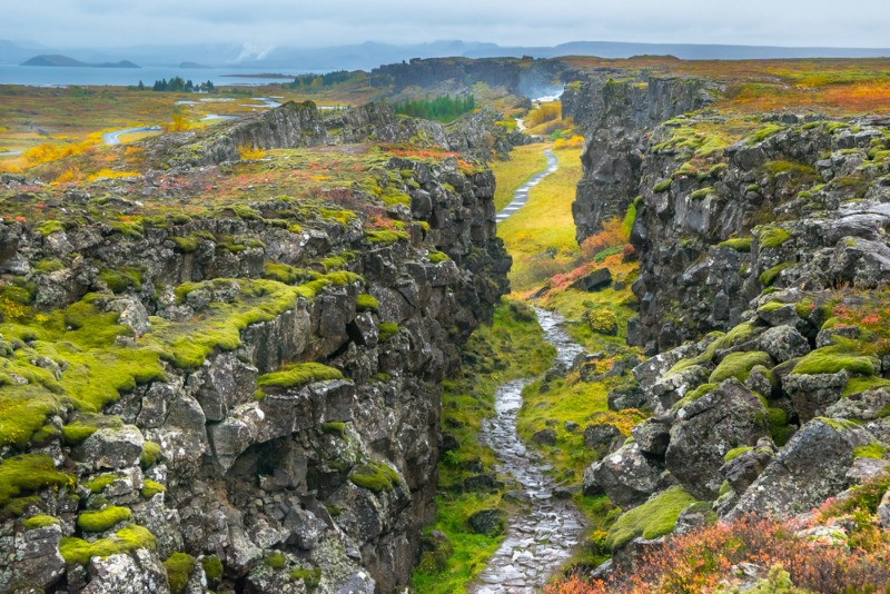 The geology of Iceland is very interesting: There is a fissue between two tectonic plates in Thingvellir