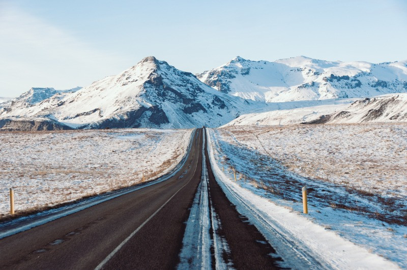Roads in April in Iceland can be covered in snow and ice
