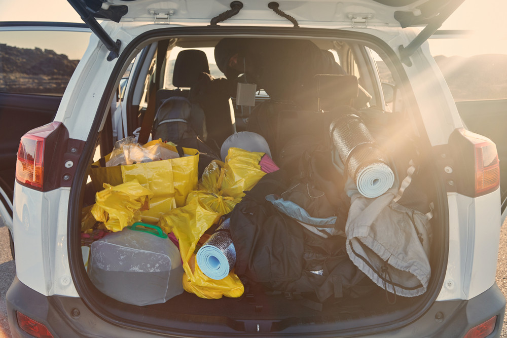 A Small camper trunk full of stuff ready for camping on Iceland's Ring Road
