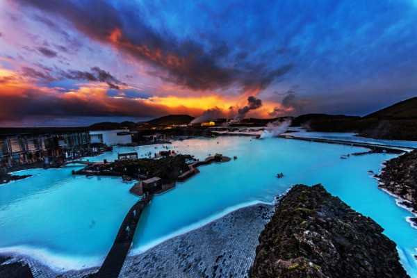 Beautiful Sunset at the Blue Lagoon, the most famous and one of the top best hot springs in Iceland