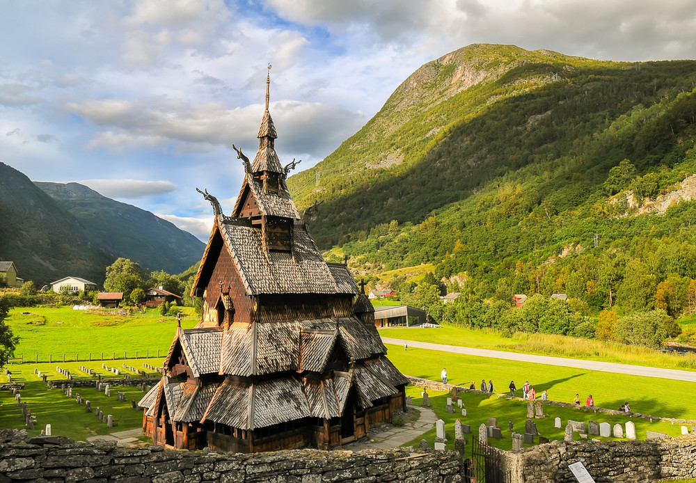 A typical wooden steve church in the Western Norway