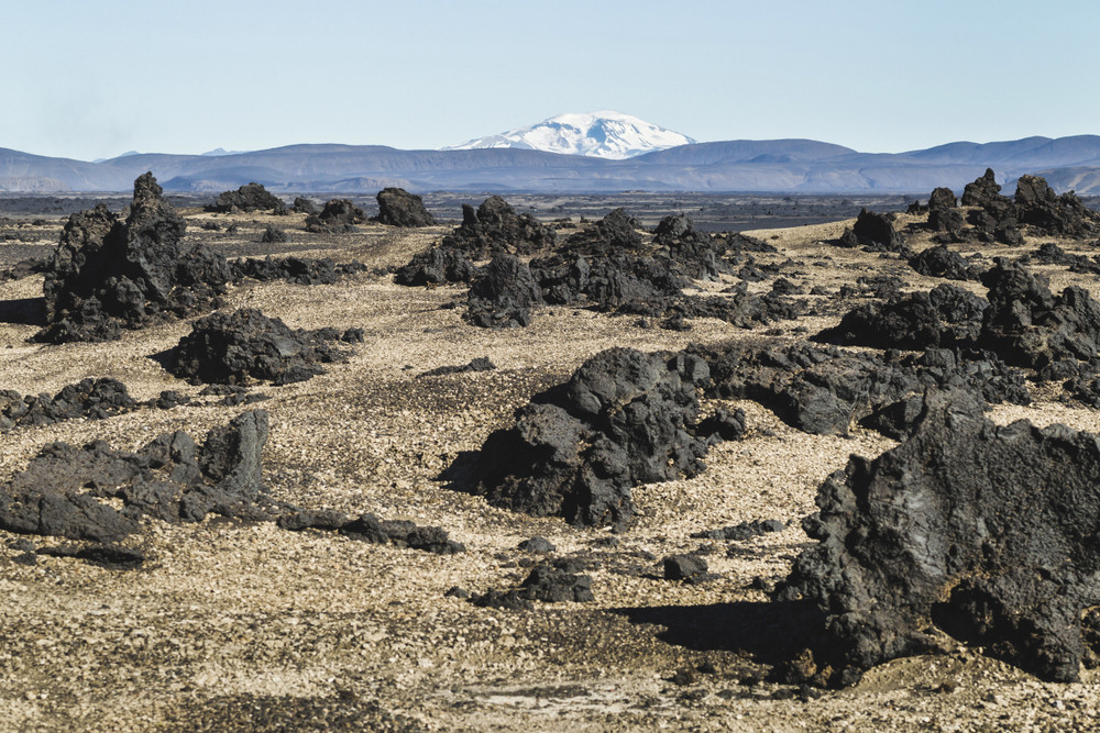 Volcanic rocks formations on a road F910 which you need to take to reach Askja in Iceland