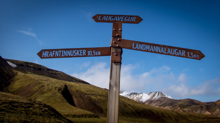 Signs on the hiking trail in Landmannalaugar