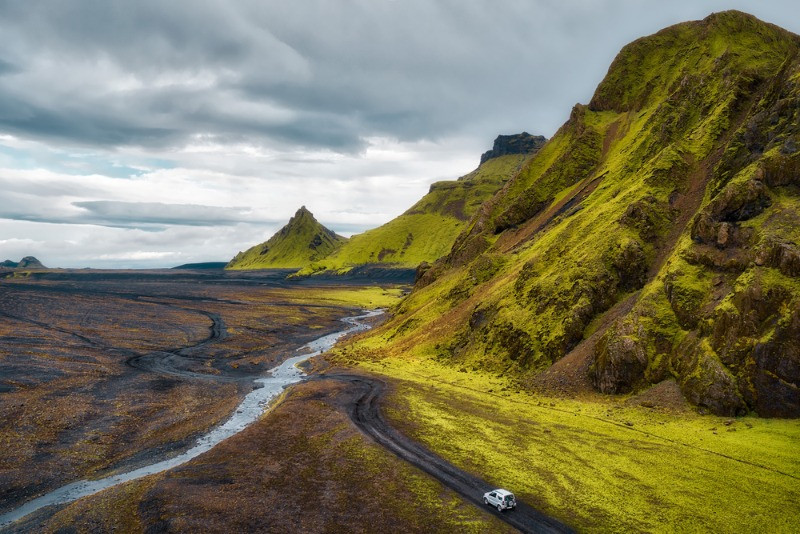 Driving in the Iceland Highlands is challenging but the views are amazing