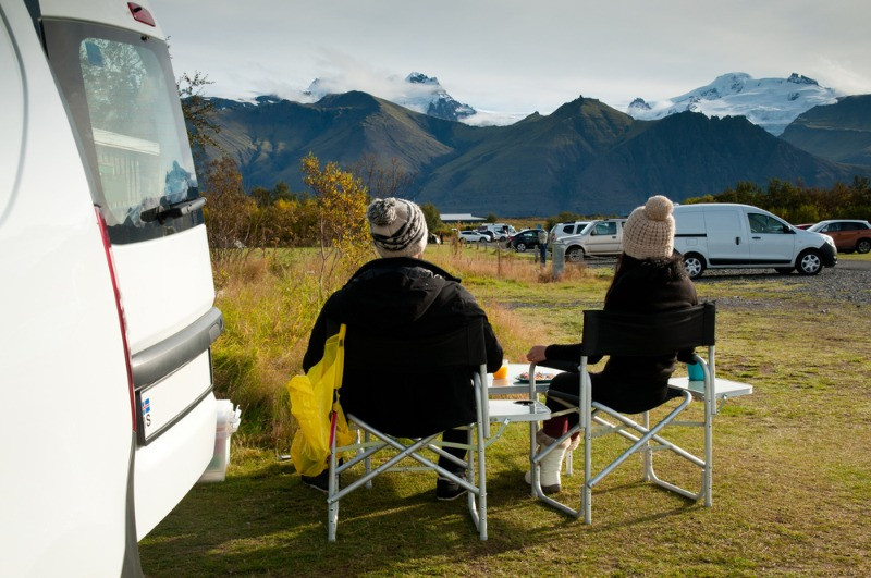 A couple enjoying their time on camping in Iceland