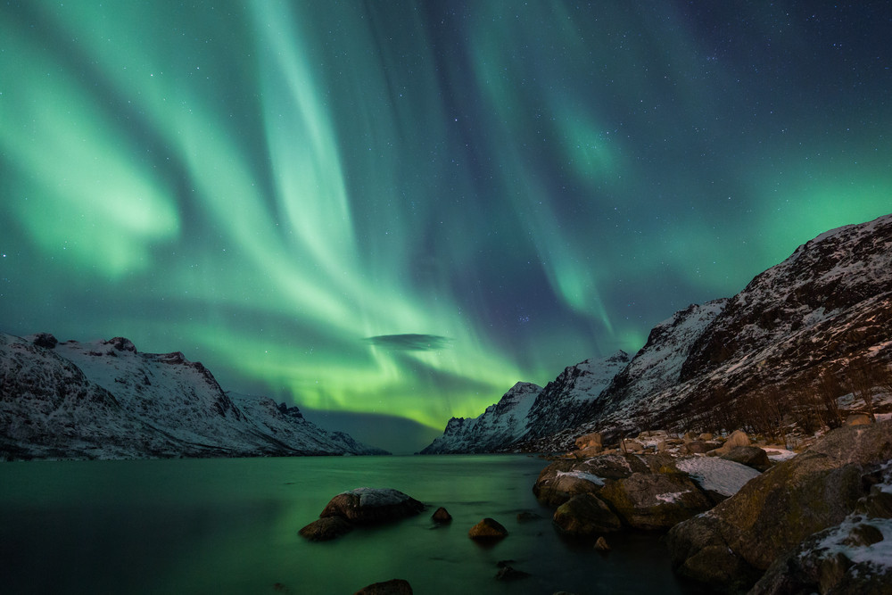 The Northern Lights in Norway, in the mountainous area, covered in snow