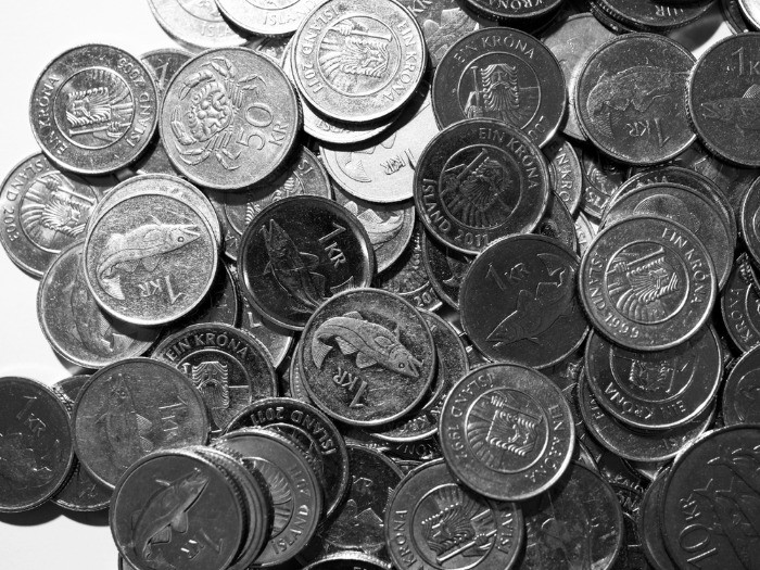 Pile of coins of the official Icelandic curreny- Icelandic krona