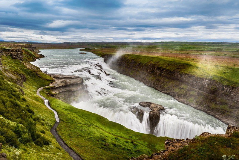 Gullfoss is located on the Golden Circle route and is one of the biggest waterfalls in Iceland