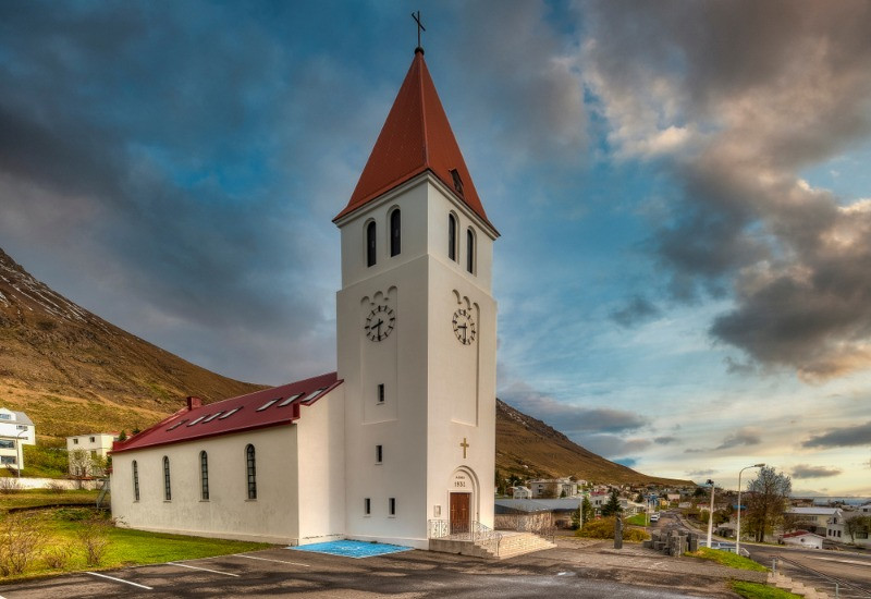 Church in Holar is one of the main attractions in the Trollaskagi Peninsula