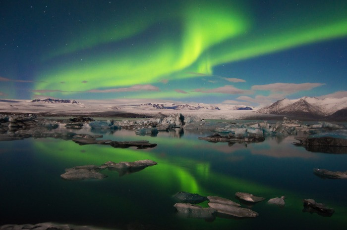 The Northern Lights in Iceland during a perfect winter weather