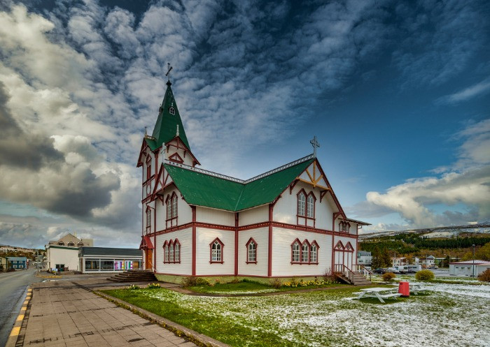 The old town historic building in the village of Husavik