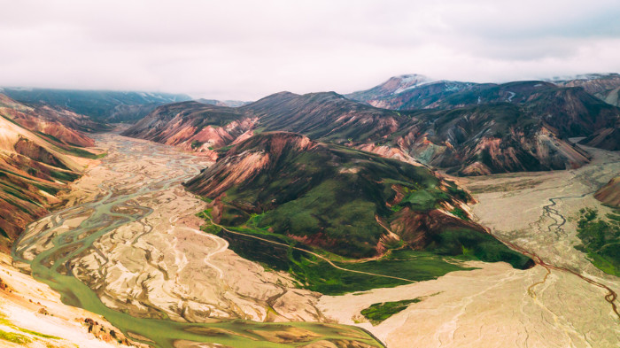 MArvelous view on colorful Landmannalaugar mountains
