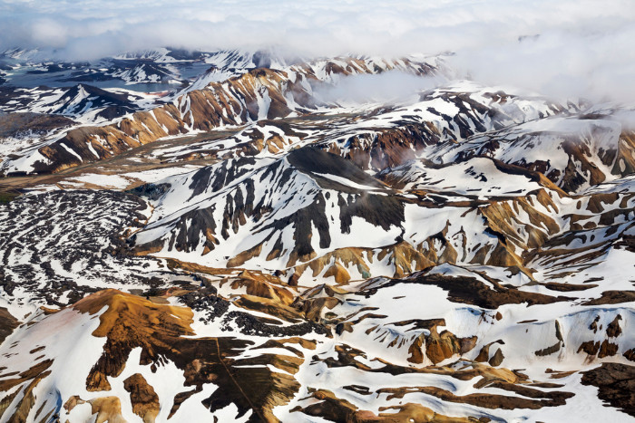 Landmannalaugar winter view with snow covering the peaks