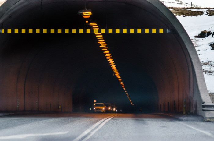 Car tunnel in Iceland in winter
