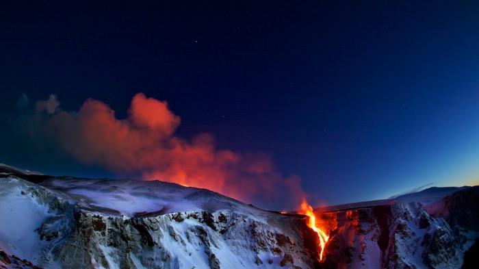 Eyjafjallajokull volcano eruption at night
