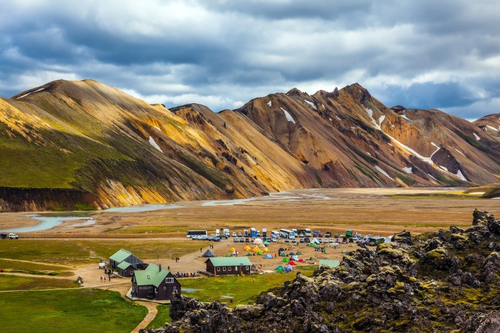 A view on Landmannalaugar hut, campsite ad colorful mountains