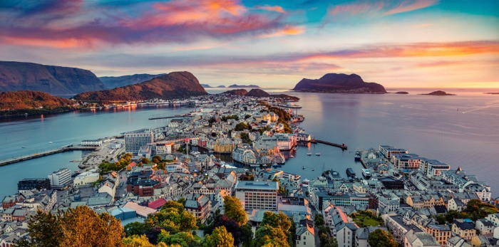A spectacular view over Alesund, one of the top 10 coastal cities in Norway