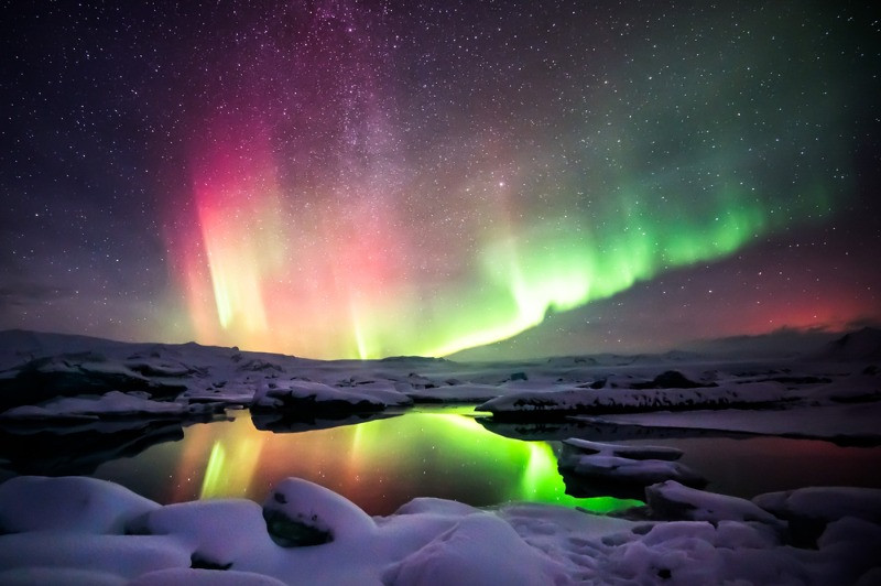 Iceland's Jokulsarlon Lagoon with the Aurora Borealis in the background
