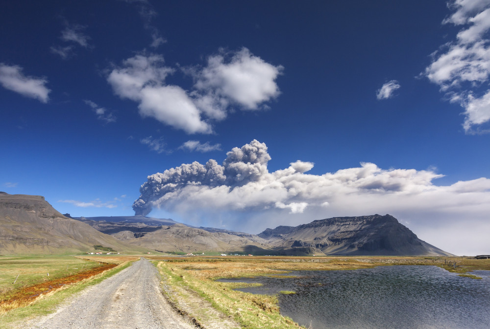 The view on the Eyjafjallajokull  volcano in Iceland with the dust coming out of it