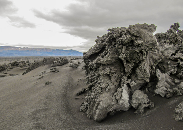 Lava rocks created in the Holuhraun lava field which is the youngest field of its kind in Iceland