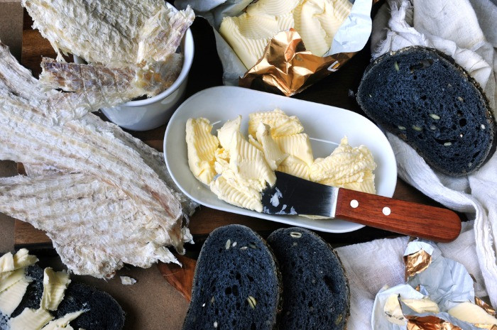 Hardifiskur  or icelandic dry fish with butter tastes best